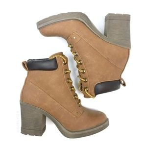 Dirty Laundry Shoes - Wheat Nubuck Faux Leather Lace Up Chunky Heel Boot